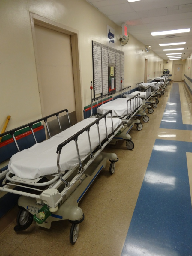 Some of the empty beds that litter the hallways of LICH since SUNY has closed the hospital to new admissions.